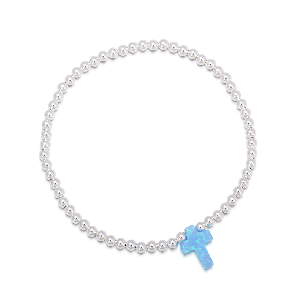 Opalite Cross Beaded Bracelet in Rose Gold