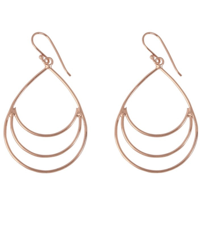 Open Teardrop Earrings in Rose Gold