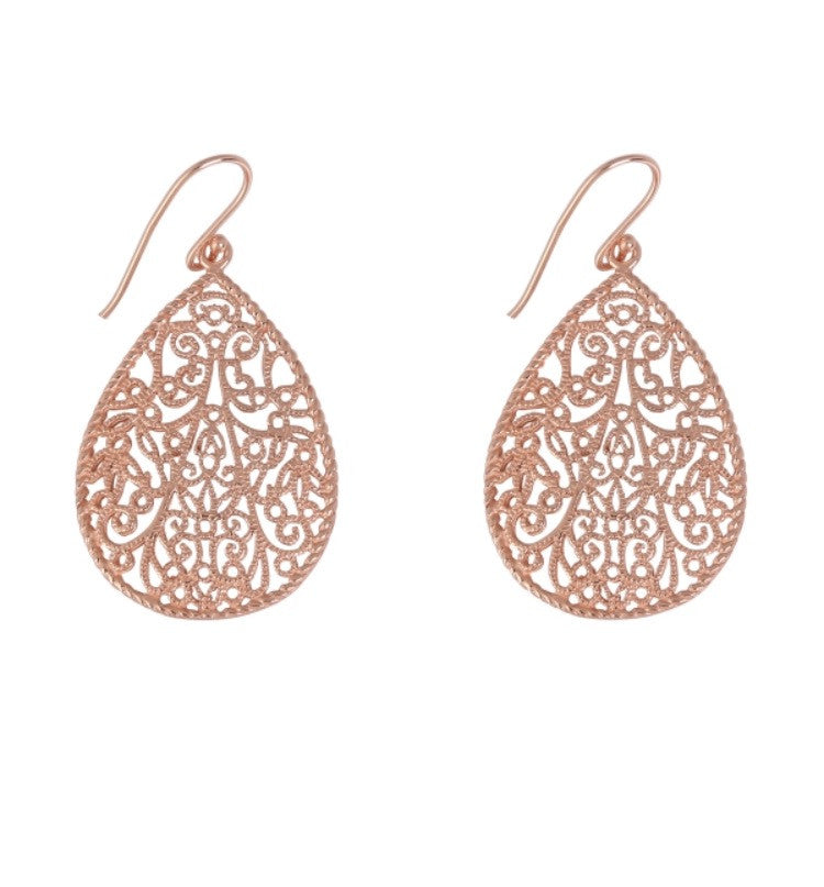 Teardrop Ornate Earrings in Rose Gold