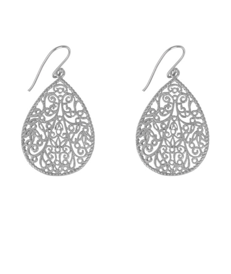 Teardrop Ornate Earrings in Sterling Silver