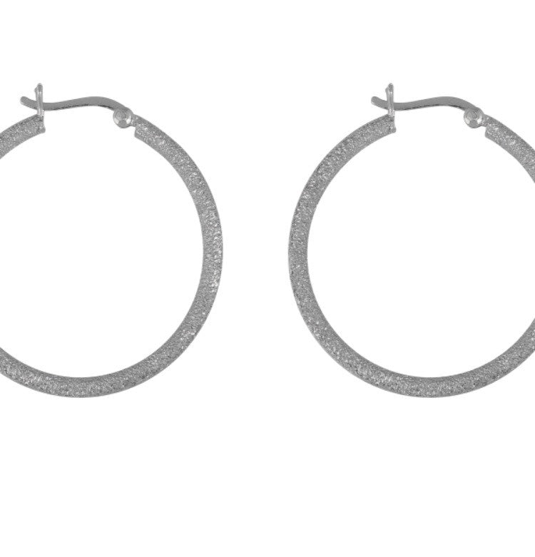 Shimmer Hoop Earrings in Sterling Silver