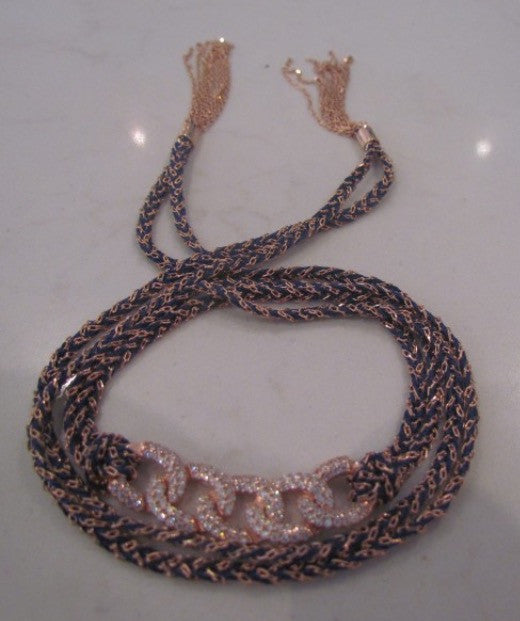 Silk Wrap Bracelet in Black and Rose Gold