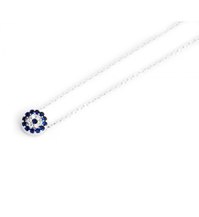 Small Blue Eye Necklace in Sterling Silver