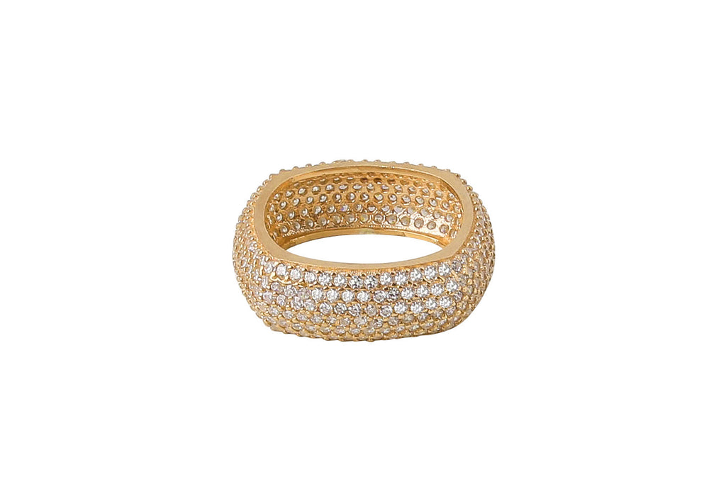 Square Cross Diamonte Ring in Gold