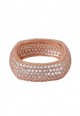 Square Cross Diamonte Ring in Rose Gold