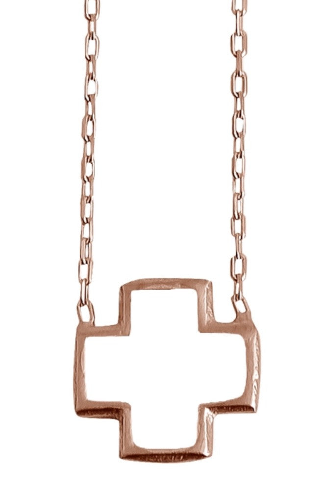 White Square Cross Necklace in Gold