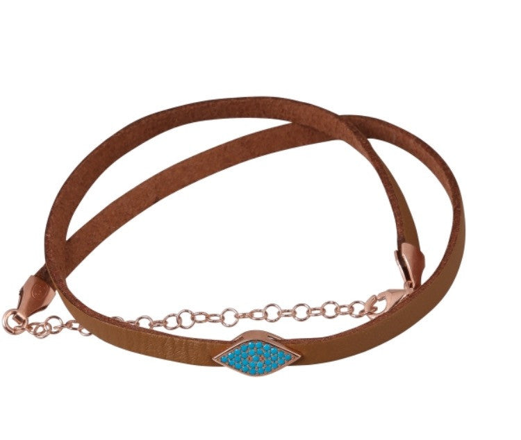 Tan Eye Choker in Rose Gold with Turquoise Stones