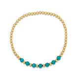 Beach Love Turquoise Beaded Bracelet in Gold
