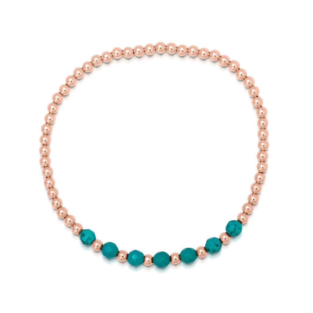 Beach Love Turquoise Beaded Bracelet in Rose Gold