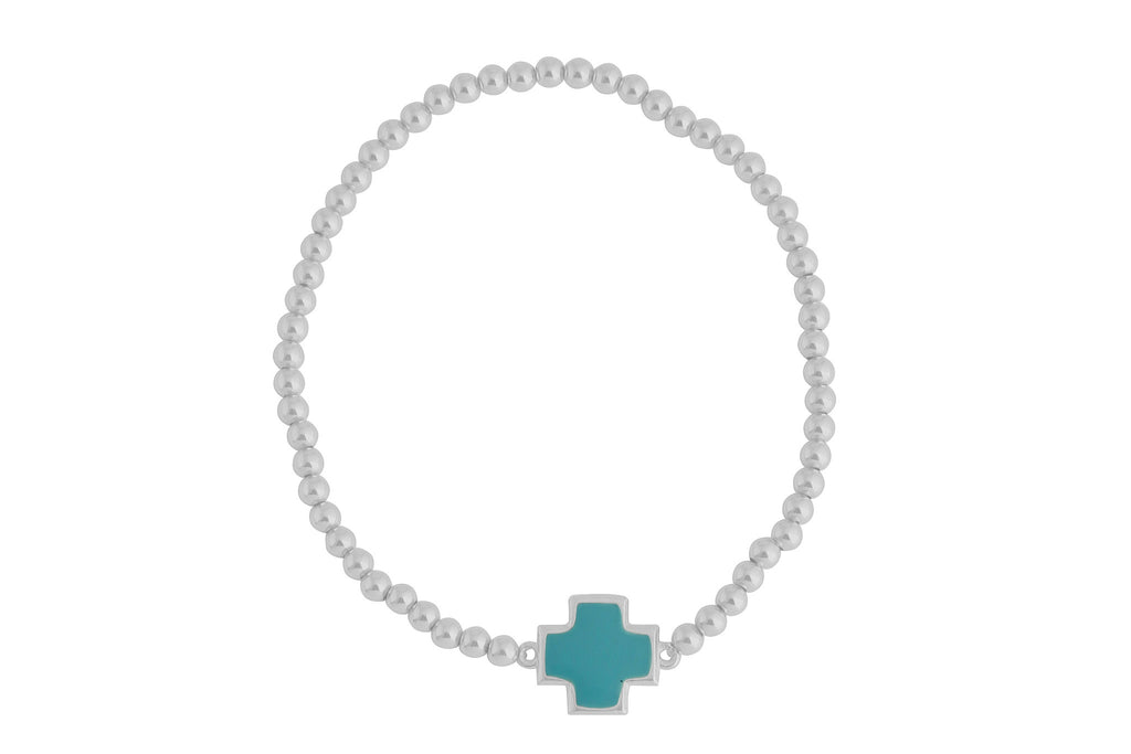 Turquoise Square Cross on Beaded Bracelet in Sterling Silver