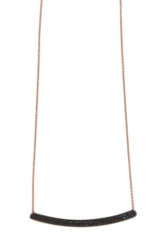 Black Bar Necklace in Rose Gold