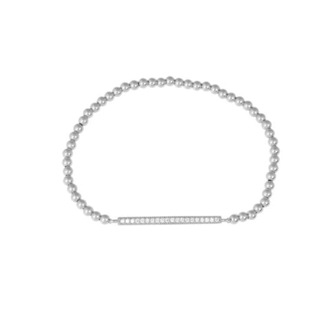 Bar Line Diamonte Beaded Bracelet in Sterling Silver