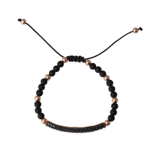 Black Bar Tie Bracelet in Rose Gold