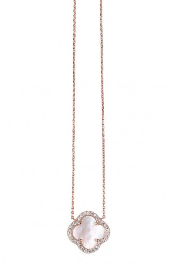 Summer Diamond Necklace with Mother of Pearl Clover in Rose Gold