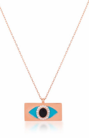 Arianna Eye Necklace in Rose Gold