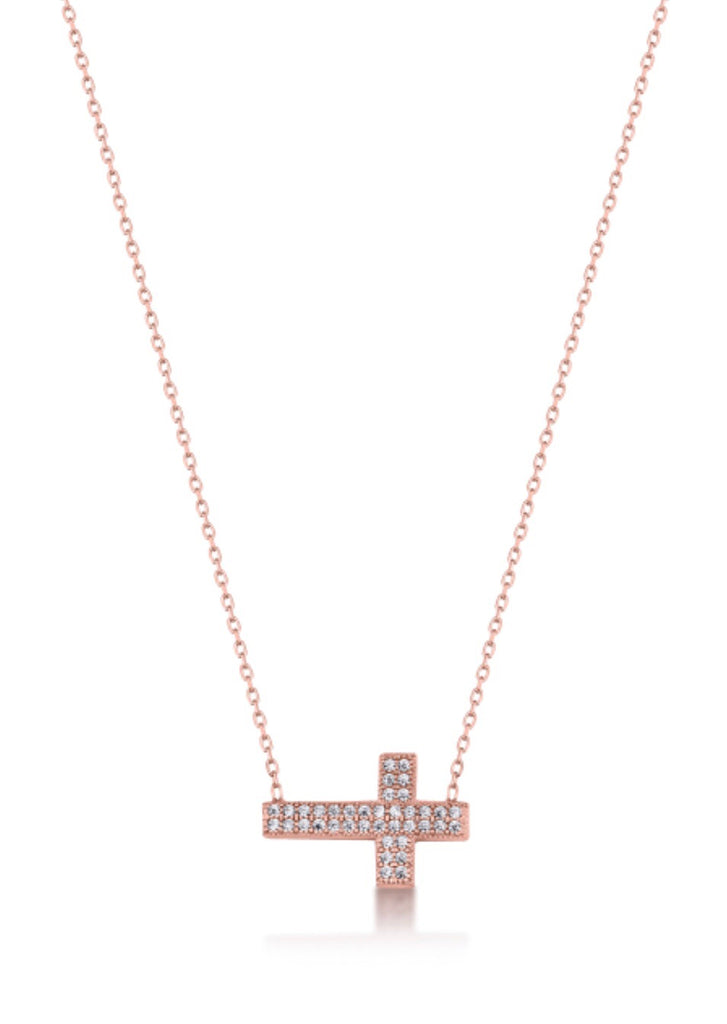 Side Cross Necklace in Rose Gold