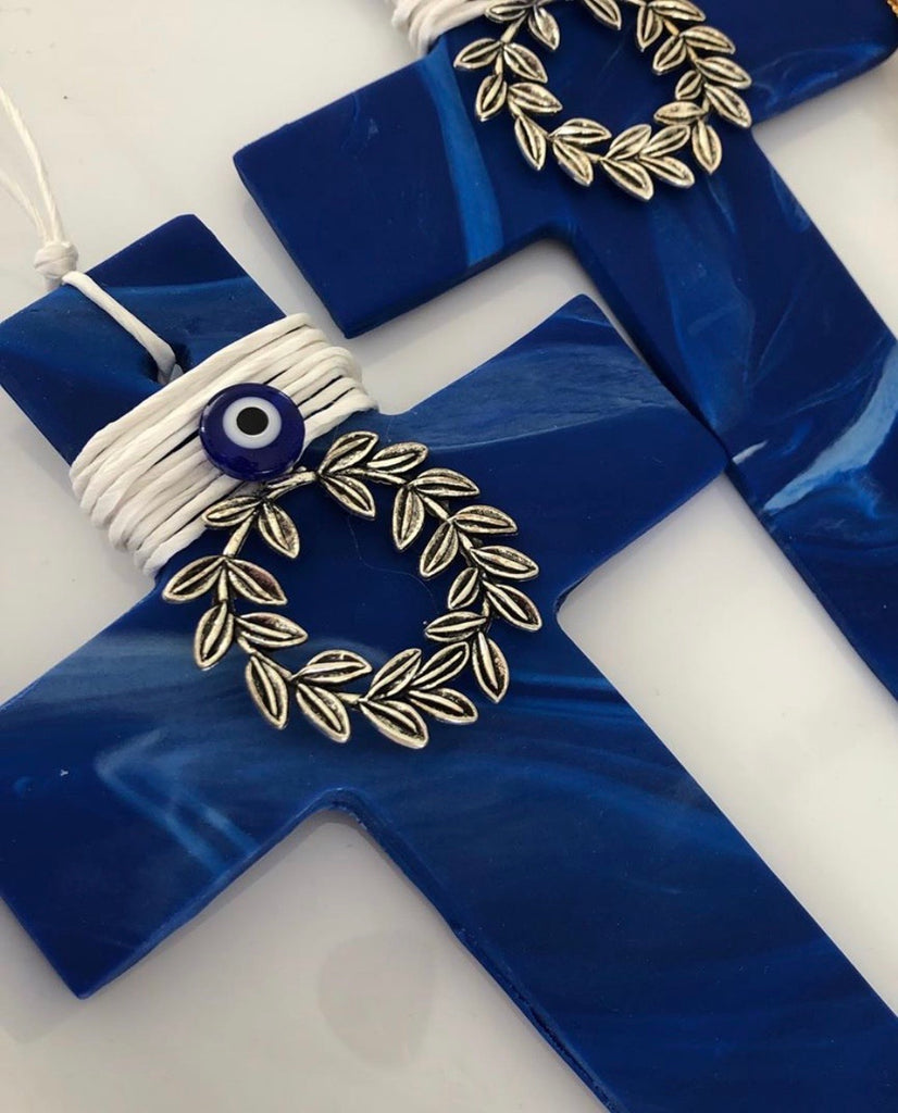 Royal Blue Marbled Cross with Wreath and Mati