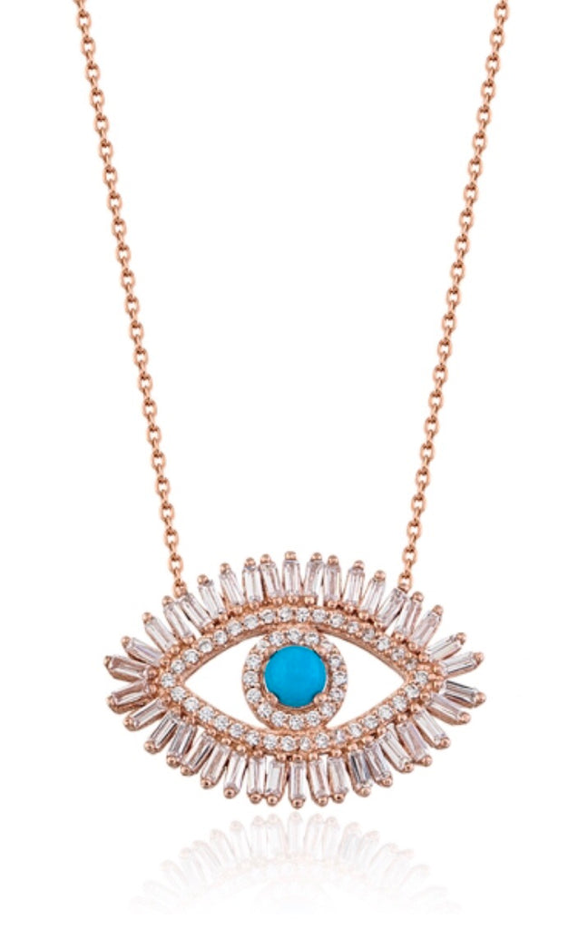 Baguette Evil Eye Necklace in Rose Gold