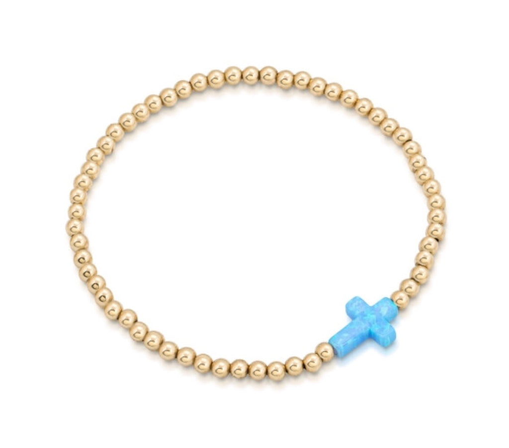 Opalite Sideways Cross Beaded Bracelet in Gold