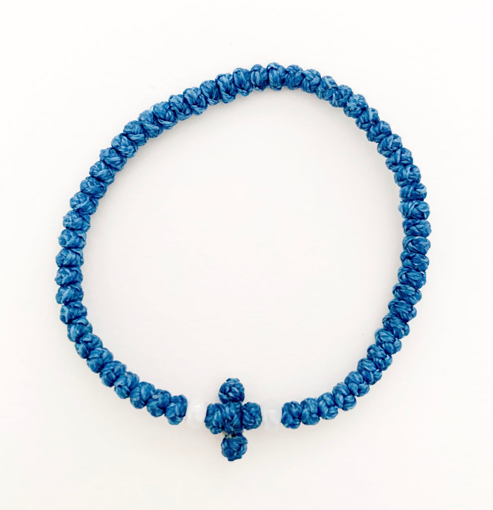 Blue Komboskini with White Beads