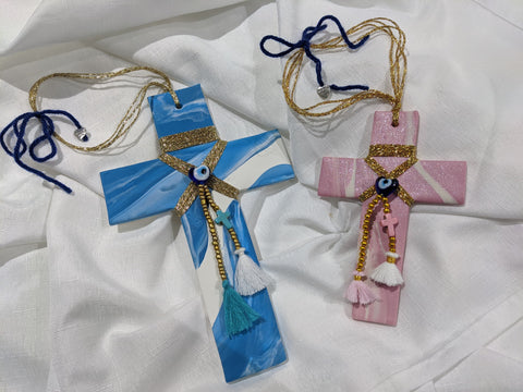 Thalassa Baby Pink Cross with Gold Stringing