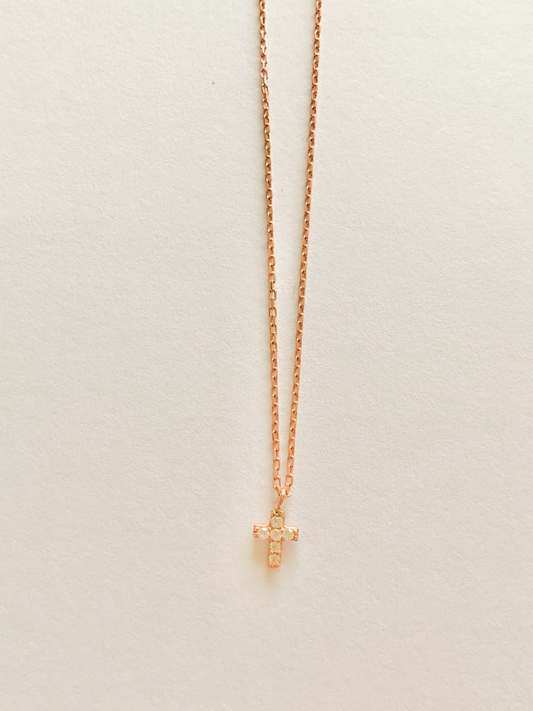 Mini Cross Necklace in Rose Gold