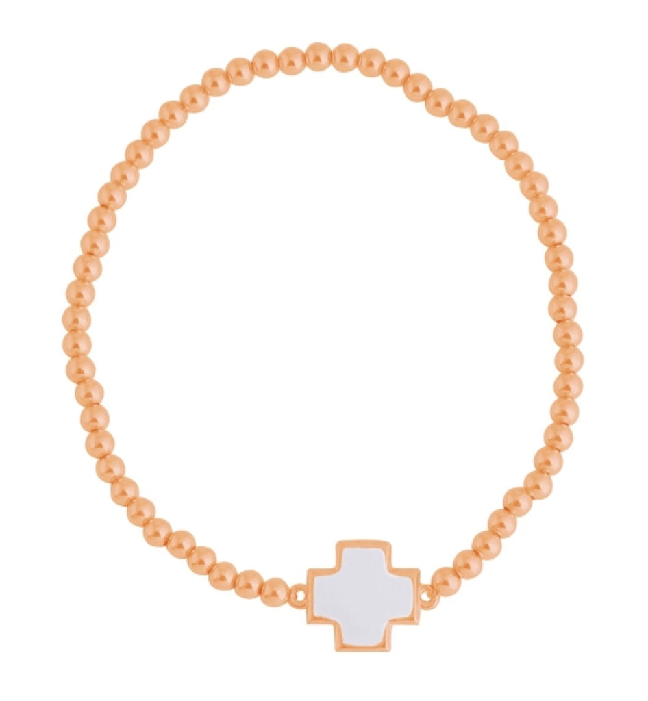 White Square Cross Beaded Bracelet in Rose Gold