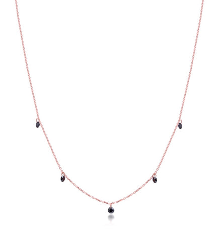 Black Crystal Drop Necklace in Rose Gold