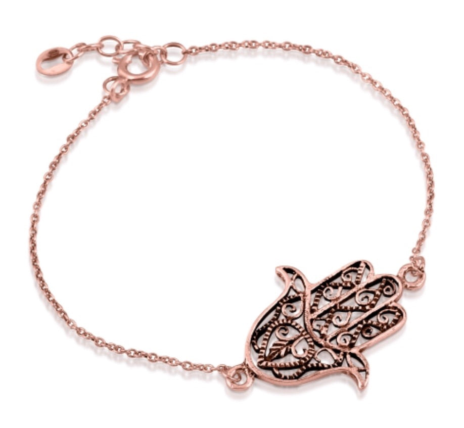Hand Of Protection Bracelet in Rose Gold