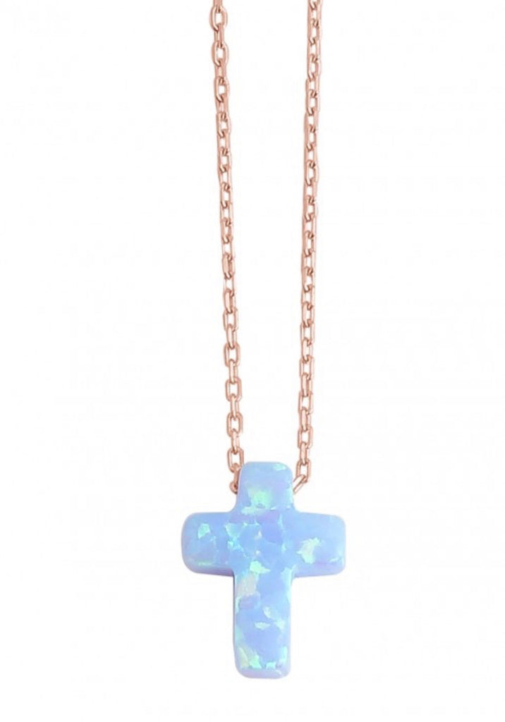 Cross Opalite Necklace in Rose Gold
