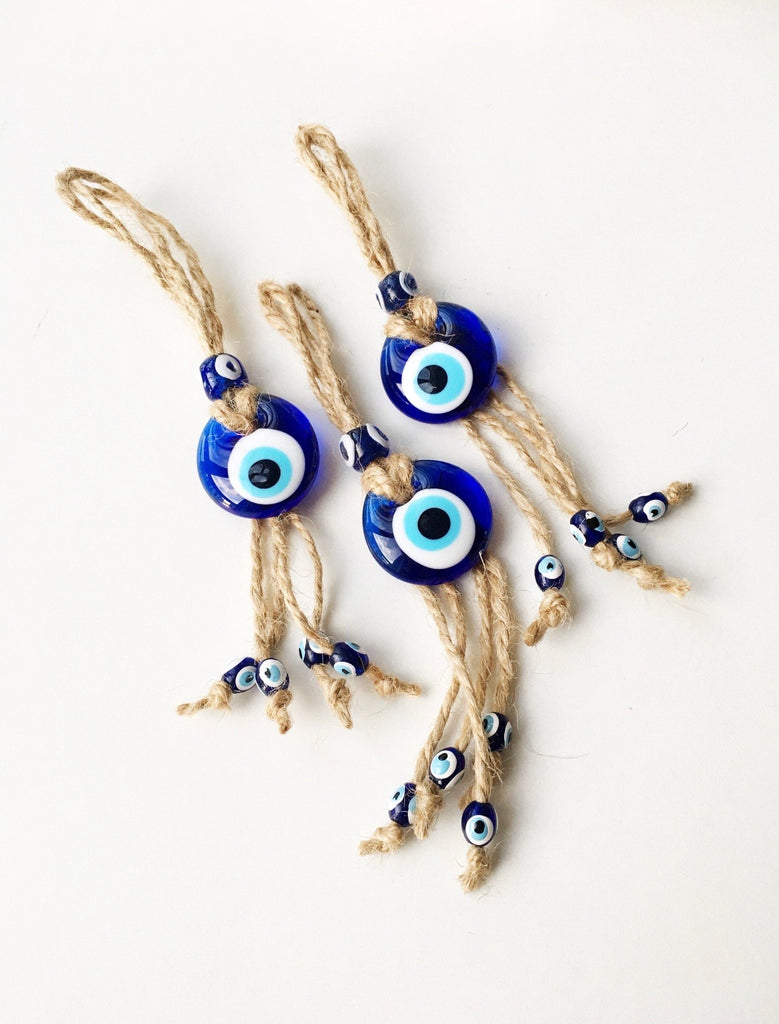 Evil Eye Glass Ornament with Jute