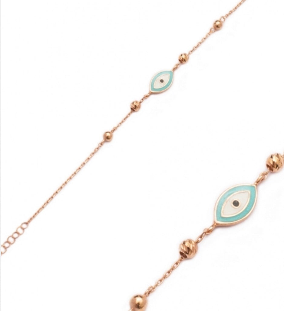 Enamel Evil Eye Bracelet in Rose Gold