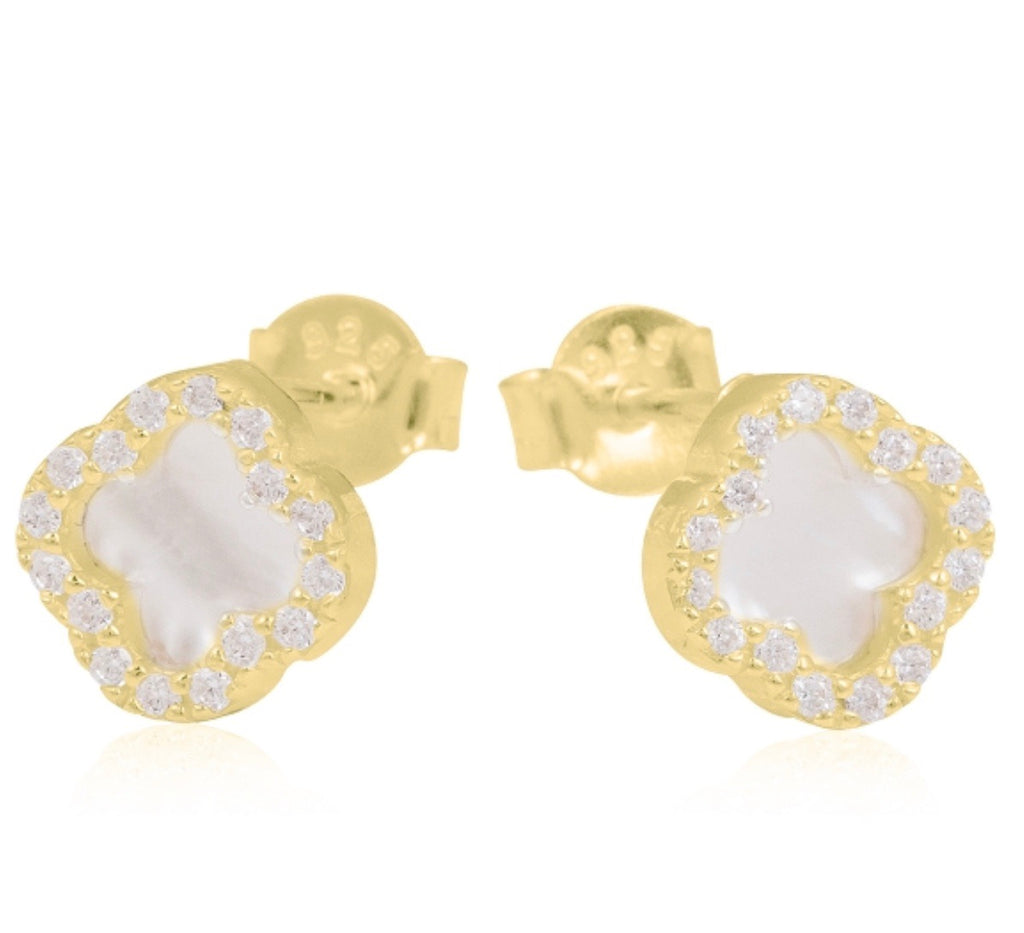 Mother Of Pearl Clover Earrings in Gold