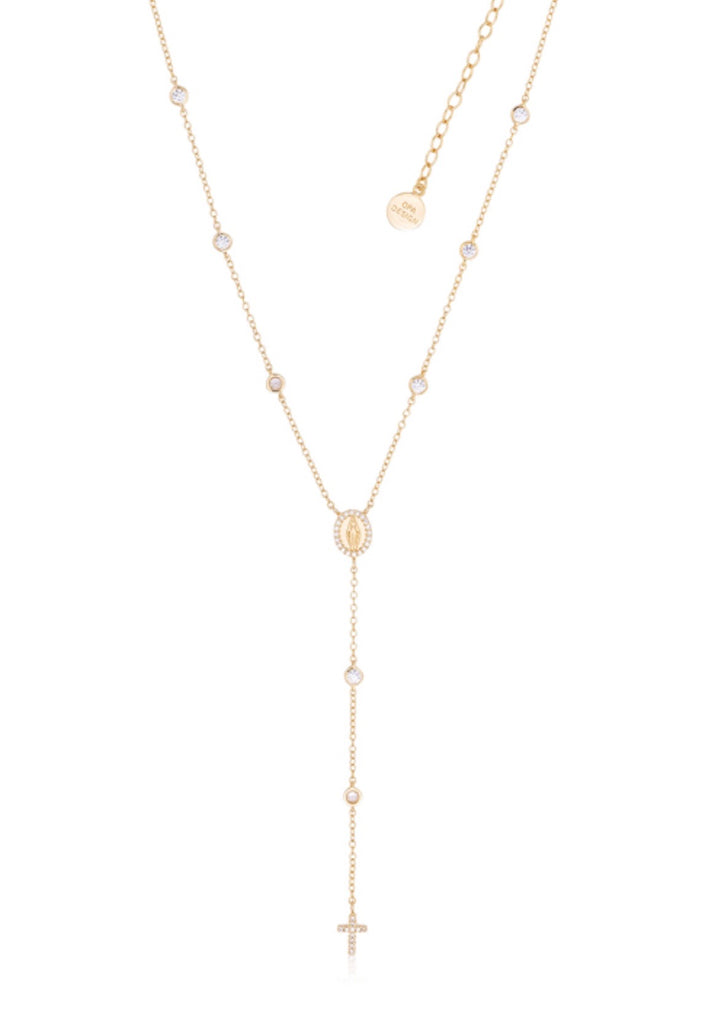 Diamanté Rosary Necklace in Gold