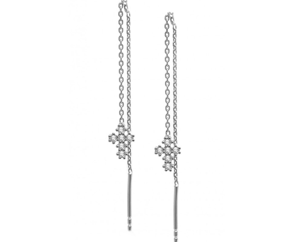 Long Chain Mini Cross Earrings in Silver