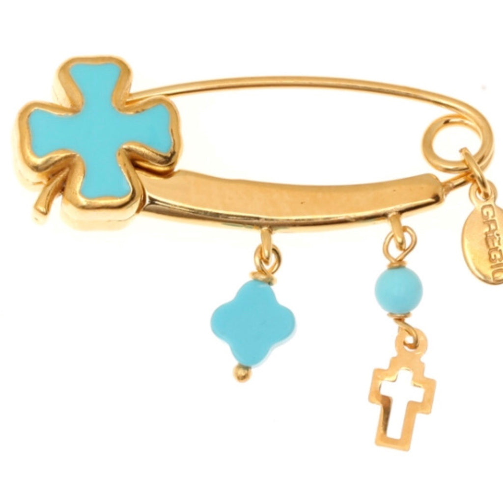 Cross Pin in Blue and Gold