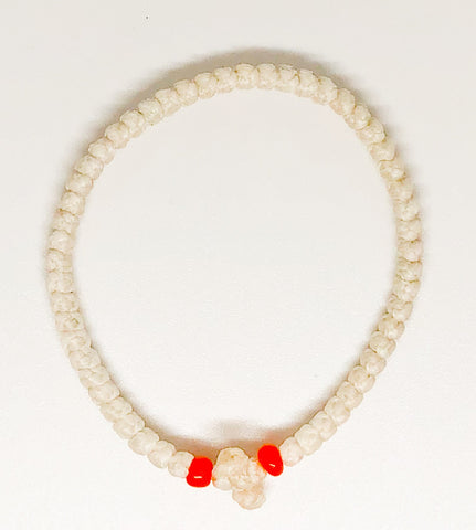 White Komboskini with Orange Beads
