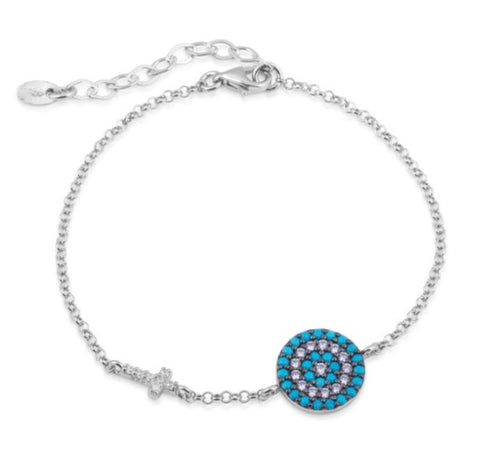 Big Eye and Cross Nano Turquoise Bracelet in Sterling Silver