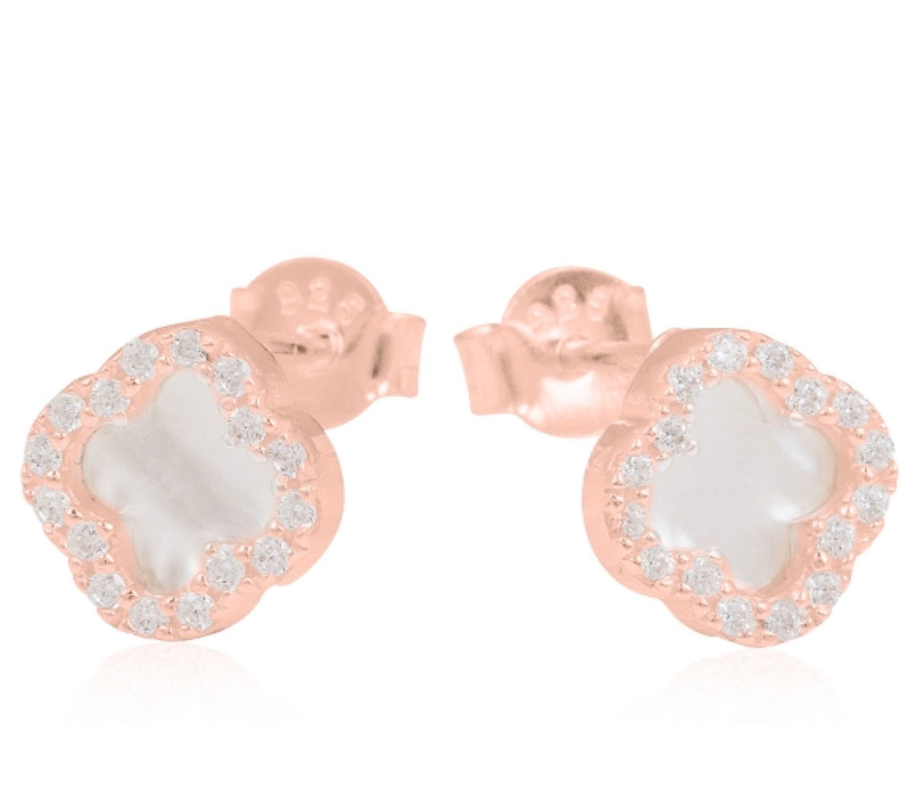 Mother Of Pearl Clover Earrings in Rose Gold