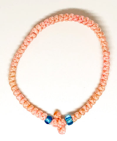 Pink Komboskini with Light Blue Beads