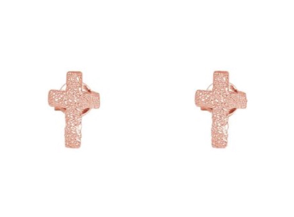 Mini Cross Earrings in Rose Gold