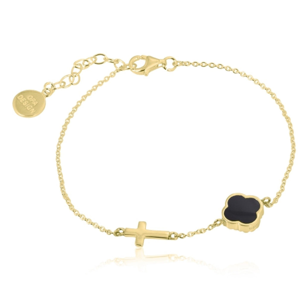 Onyx Clover and Cross Bracelet in Gold