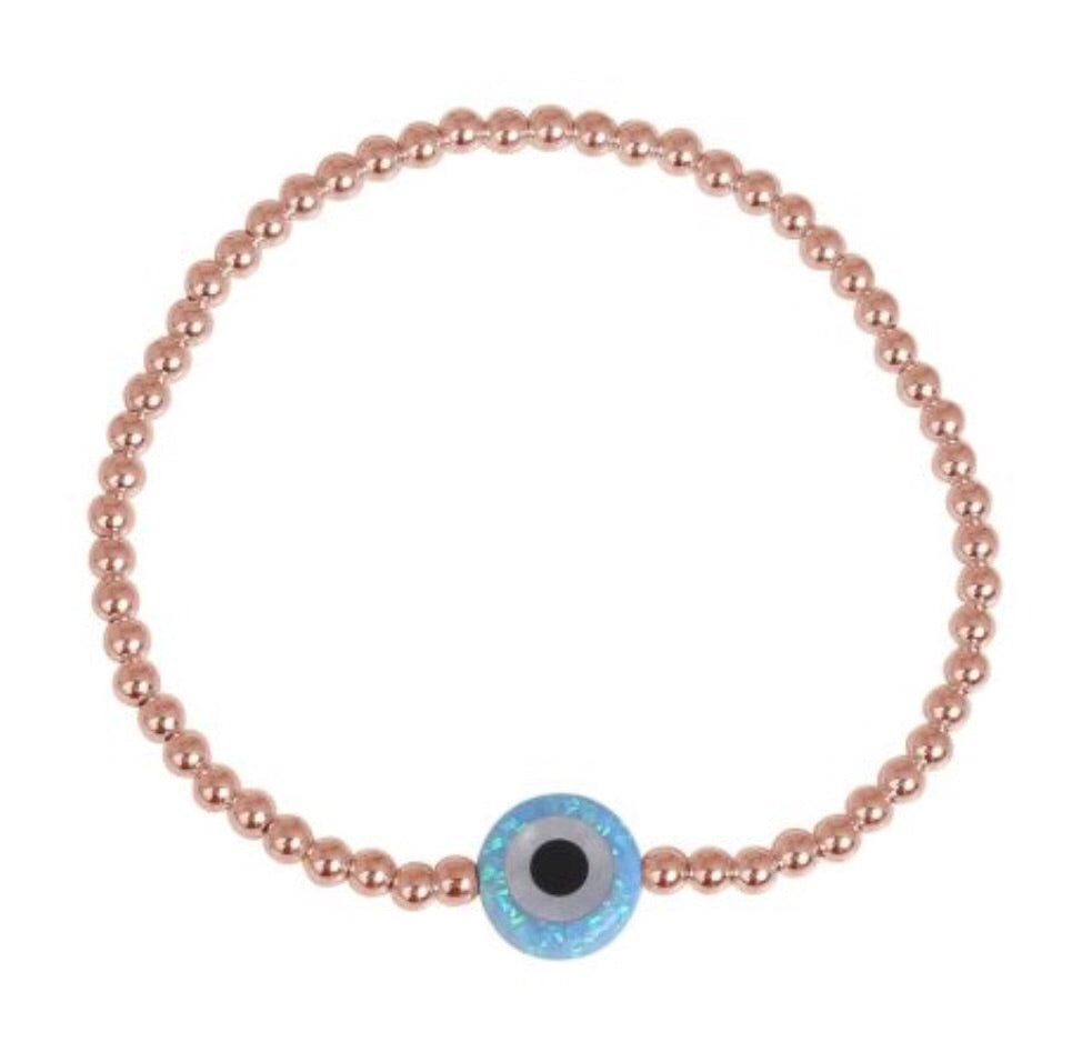 Round Opalite Eye Beaded Bracelet in Sterling Silver