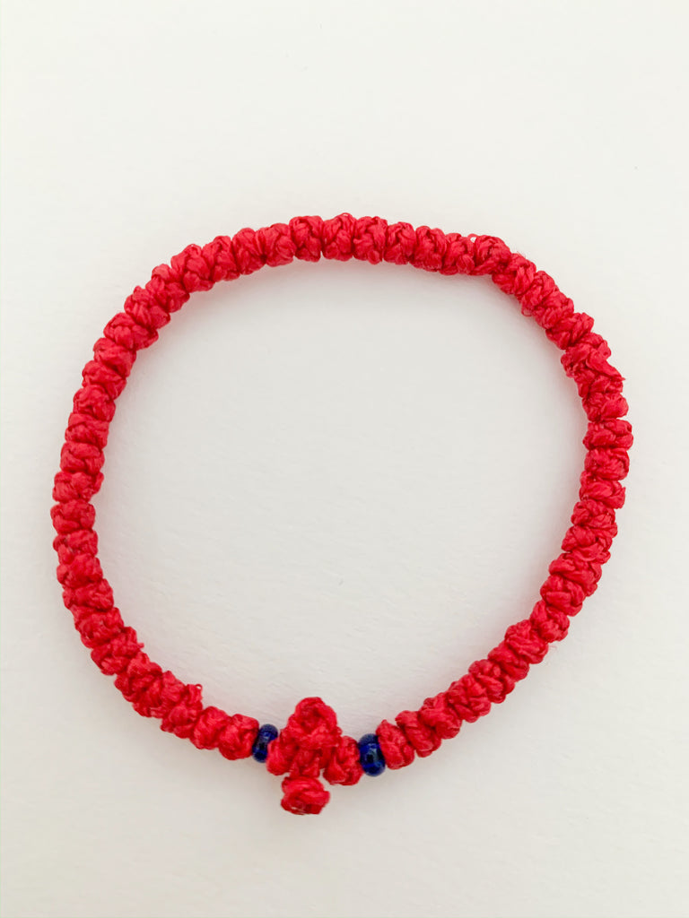 Red Komboskini with Dark Blue Beads