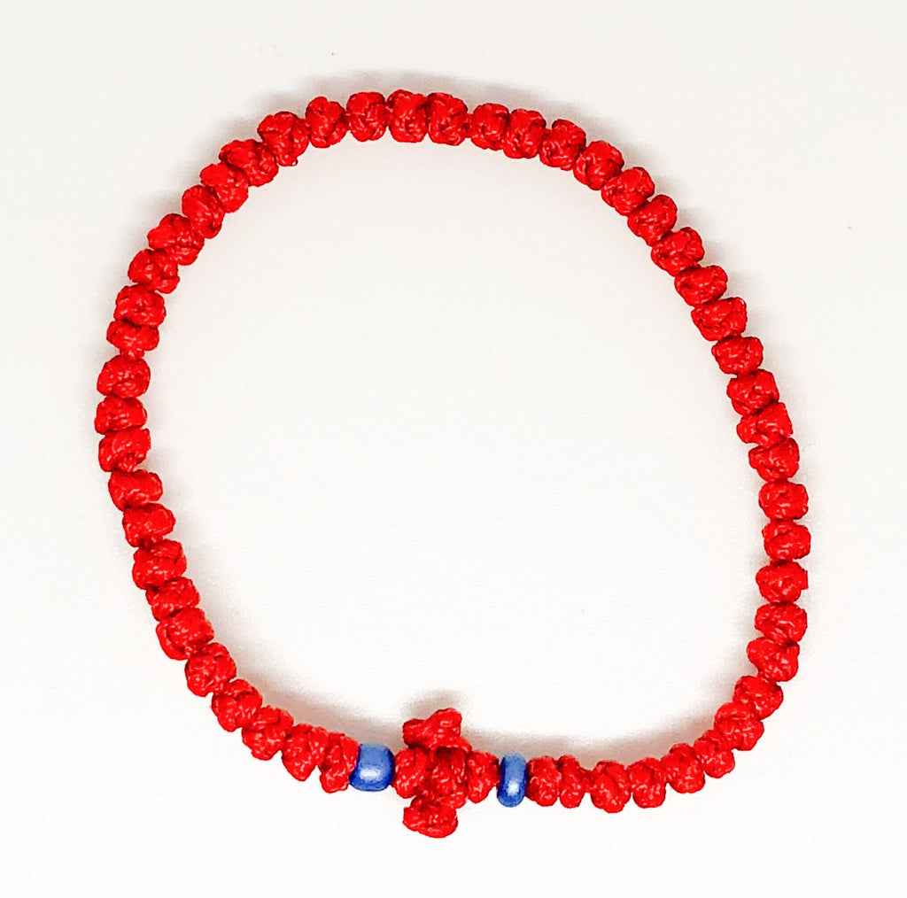 Red Komboskini with Light Blue Beads