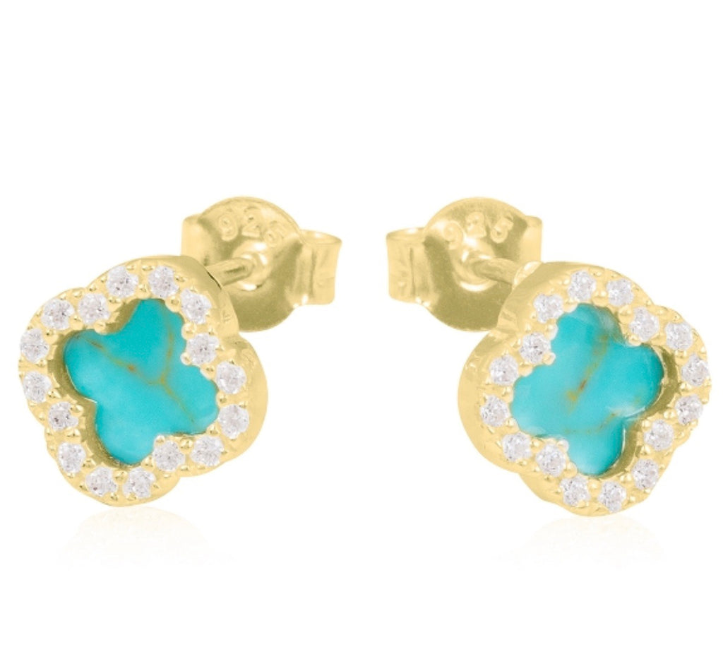 Turquoise Clover Earrings in Gold