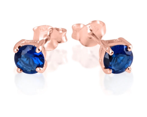 Blue Sapphire Stud Earrings in Rose Gold