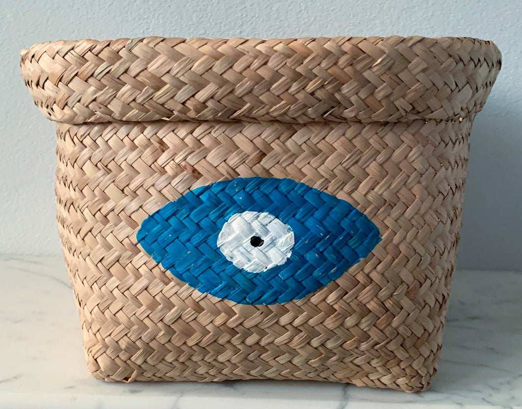 Seagrass Basket with Sea Blue Evil Eye