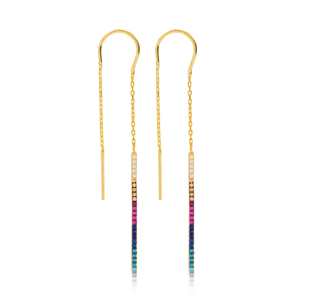 Rainbow Threader Earrings in Gold