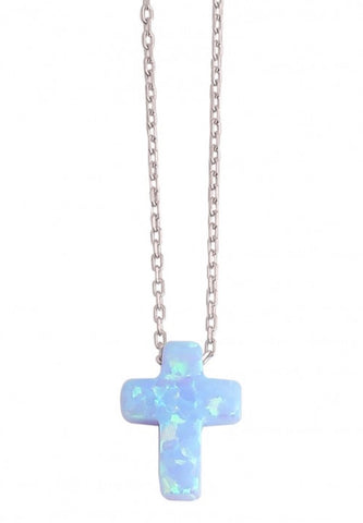 Cross Opalite Necklace in Sterling Silver
